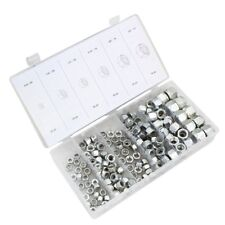 150pc Nylon Insert Lock Nut Assortment SAE 6 Sizes Steel Zinc Plated PROFESIONAL