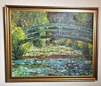 Oil Painting On Canvas Bridge Over River Troubled Waters Landscape Scene Framed