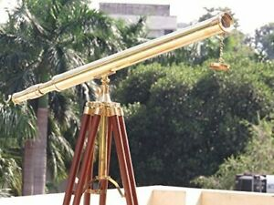 "Floor Standing Brass Harbor Master Telescope 64"" Nautical Valentines gift"