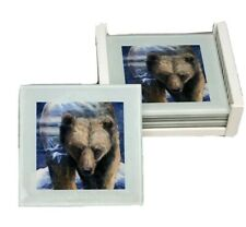 Set of 4 Art Coasters with Holder by Jody Bergsma Gallery Press Bear Design