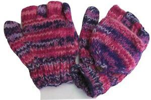 Unisex Convertible Mittens / Fingerless Gloves handknitted using 100% Wool.