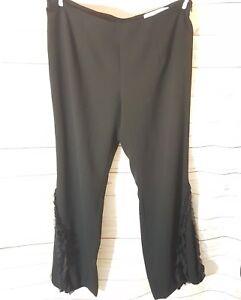 Luis Civit Womens Trousers UK18 Black Evening Party Smart