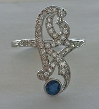 UNUSUAL FRENCH ANTIQUE ART NOUVEAU 20's PLATINUM DIAMONDS & SAPPHIRE UNIQUE RING