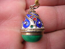 RARE ANTIQUE VICTORIAN ENAMELED STERLING SILVER + MALACHITE EASTER EGG FOB CHARM