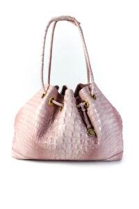 Brahmin Womens Deirdre Drawstring Handle Croc-Embossed Tote Handbag Pink Leather