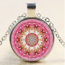 Photo Cabochon Glass Silver Chain Pendant Necklace pink Life flower