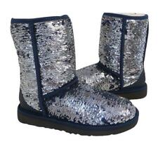 New NIB Ugg Classic Short Sparkles Blue & Silver Sequined Shearling Boots 10