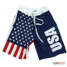 American Flag Board Shorts USA Mens Swim Trunks Patriotic Stars & Stripes S-3XL