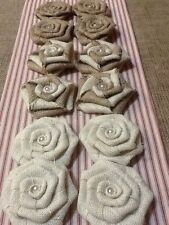 12 Burlap Flowers Natural, Ivory and Swirl Pearl Rustic Outdoor Wedding Country