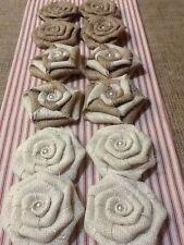 Dozen Burlap Flowers Natural, Ivory Swirl Pearl Cake Topper Rustic Wedding