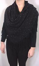 Womens Black Pashmina Wrap Shawl Crystal Studs Fringing Tassel Oversized NEW