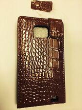 Samsung Galaxy SII i9100 Fitted Leather Flip Case Crocodile Skin Brown.Brand New