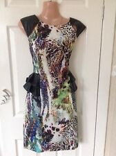 New print trimmed fax leather pepulum wiggle dress size 12 Hols 29/8 To 6/9