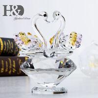 Cute Animal Swan Crystal Glass Figurine Ornaments For Valentine Lady Gift Decor