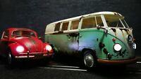 Twinpack VW Käfer und Bus Bulli T1 für Carrera 132 ANALOG +Licht + Rücklicht
