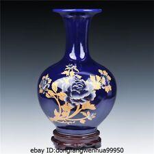 China Home Feng Shui jingdezhen Blue Porcelain chinaware Peony flower Luck Vase