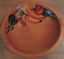 Vintage Wooden Dough Bowl Hand Painted Fruit Design Ball Feet Out of Round