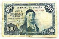 Spain-Billete. 500 Pesetas. 1954. Madrid. Serie N. Circulado. Escaso