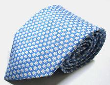 Salvatore Ferragamo Elephant Pattern Blue Color Silk Necktie Tie Made In Italy