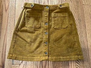 MADEWELL CORDUROY A-LINE BUTTON FRONT MINI SKIRT WIDE WALE MUSTARD YELLOW SIZE 6