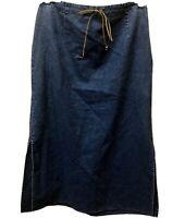 New Womens Size L Blue Boho Tie Waist Side Slits Midi Denim Jean Skirt