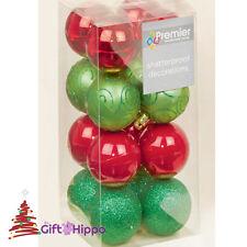 ALBERO di Natale Decorazione - 50mm Rosso & Verde NINNOLI - 16 Shatterproof baubles