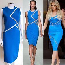 New David Koma Blue Mesh Insert Cut Out Dress uk 10