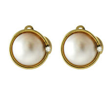 Vintage 14K Cultured Mabe Pearl and Diamond Clip Back Earrings