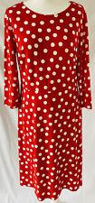Boden Womens Red White Polka Dot Jersey Shift Dress Uk Size 16r