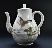 Antique Oriental Tea Coffee Pot signed base 19cm high