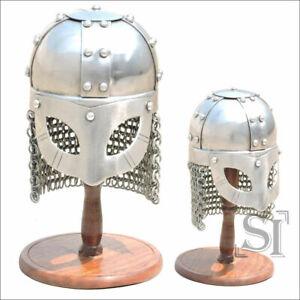 New Medieval Gjermundbu Viking Helmet with Aventail + Wooden Display Stand