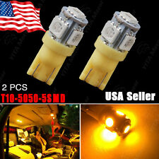 2X Amber/Yellow T10 Wedge Side 5SMD 5050 LED Light bulb W5W 2825 158 192 168 194
