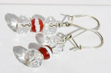 Handcrafted Silver Crystal Brown Agate Genuine Semi-precious Earrings Gift Delic