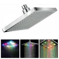 Modern Chrome 8 inch LED Colour Changing Square Shower Head  Rainfall Bathroom