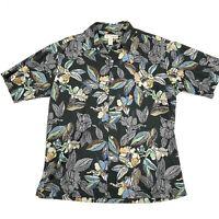 Tori Richard Men's Black Blue Floral Hawaiian Short Sleeve Button Down Shirt L