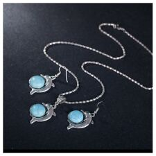 Turquoise Dolphin Necklace & Earring 2 Piece Set, Antique Silver Vintage Style