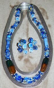 VINTAGE ALICE CAVINESS SET NECKLACE AND EARRINGS CRYSTAL BEADS  AND CHAINS