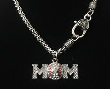 Baseball Mom Rhinestone Bling Necklace Sports Mom Jewelry Crystal