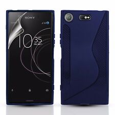 SLIM SILICONE GEL CASE COVER & SCREEN PROTECTOR FOR SONY XPERIA XZ1 COMPACT