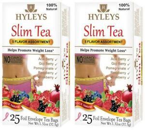 2 Packs 50Bags HYLEYS SLIM TEA ASSORTY Pomegranate Acai Goji Raspberry Blueberry