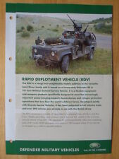 LAND Rover 90 & 110 Veicolo Pronto Intervento (RDV) RARO OPUSCOLO MILITARE - 2008