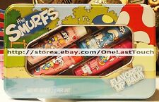 LOTTA LUV 5pc Tin Set THE SMURFS Flavored Lip Balm FROSTING+PEACH+STRAWBERRY+