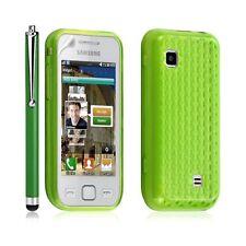 Housse coque gel damier transparent Samsung Wave 575 S5750 couleur vert + stylet