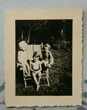 Foto 1936 Junge boy Klappstuhl badehose mädchen Y11