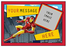 IRONMAN SUPERHERO PERSONALISED A4 CAKE TOPPER, ADD PHOTO , EDIBLE ICING SHEET