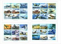 2010 AVIATION ART WWII 8 SOUVENIR SHEETS MNH UNPERFORATED planes jet fighter