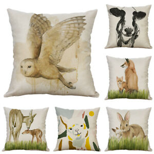 Fashion Cotton Linen Printing OWL COW alpaca animal pillow Case cover Home Decor