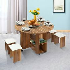 Dining Table and 4 Chairs Set Wooden Folding Round Kitchen Table with Wheels Oak