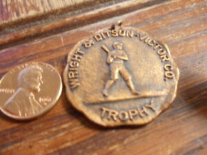Vintage Baseball Trophy Medal Wright & Ditson Victor Co.