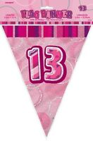 GLITZ PINK FLAG BANNER 13TH BIRTHDAY 3.6M/12' BIRTHDAY PARTY SUPPLIES
